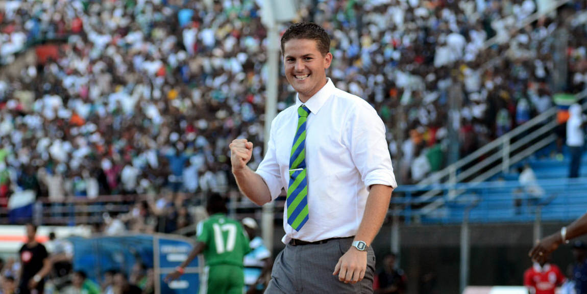 Coach McKinstry celebrates as the Leone Stars move ahead against Tunisia [Sierra Leone vs Tunisia June 2013 (Pic: Darren McKinstry)]