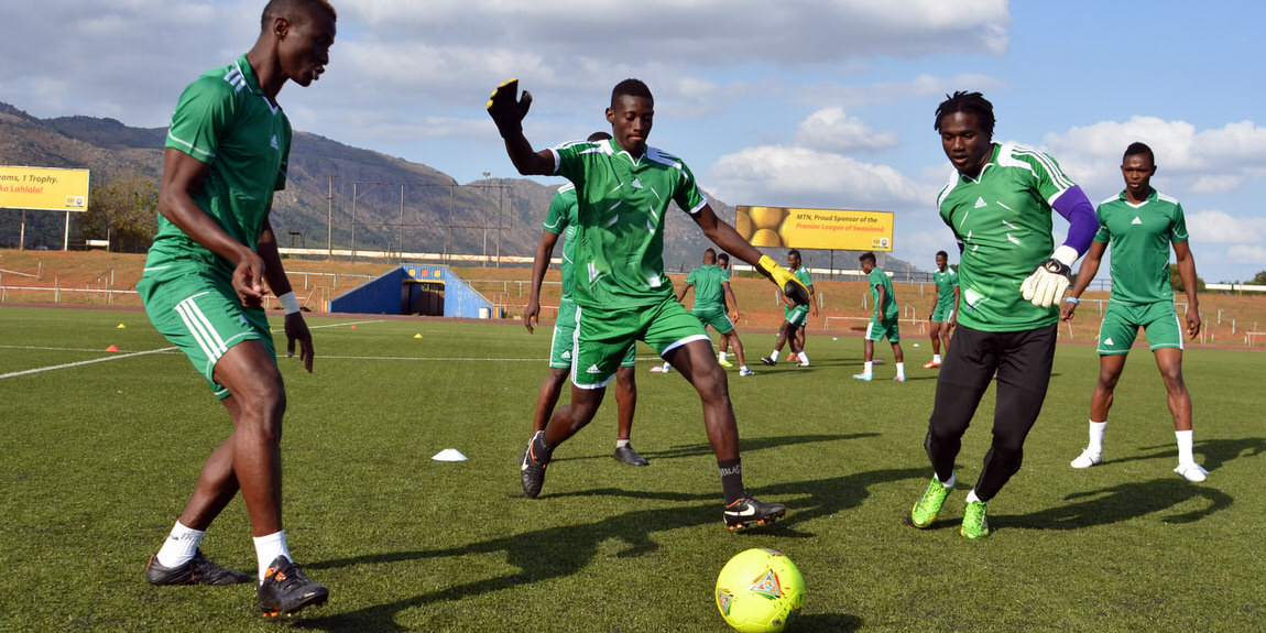 Leone Stars warming up. [Training Camp ahead of Leone Stars v Swaziland May 2014 (Pic: Darren McKinstry)]