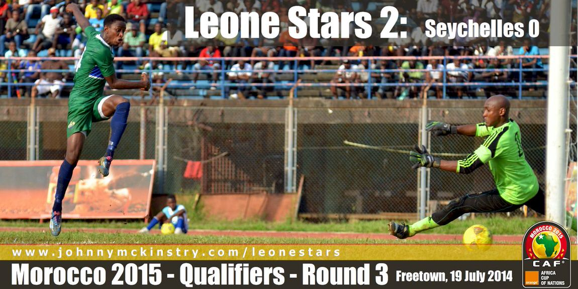 Khaliffa Jabbie scores to put the Leone Stars 1-nil ahead [Leone Stars v Seychelles, Freetown, 19 July 2014 (Pic: Darren McKinstry)]