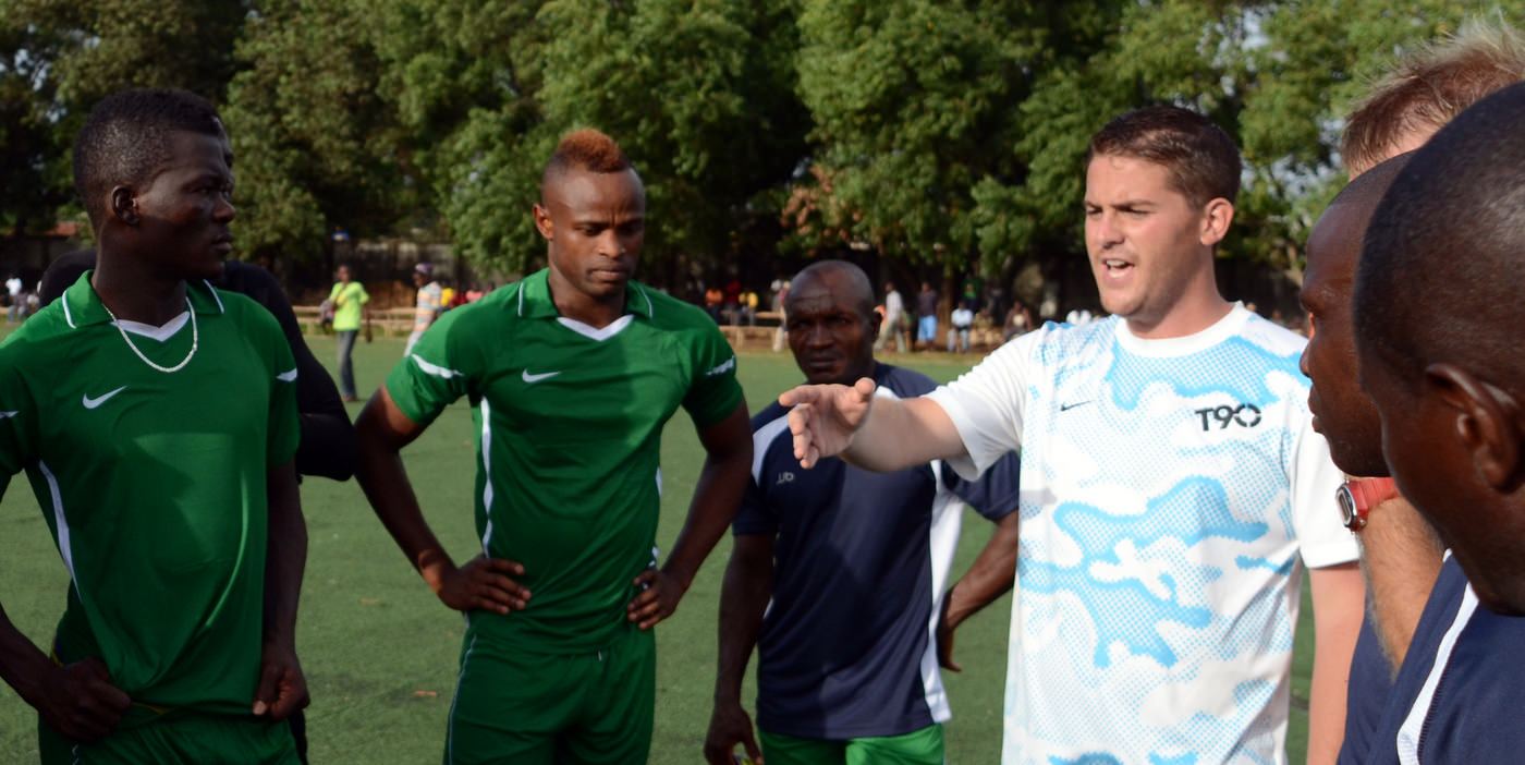Head Coach Johnny McKinstry speaks with the Team [Leone Stars Training Camp in advance of Tunisia Game, June 2013 (Pic: Darren McKinstry)]