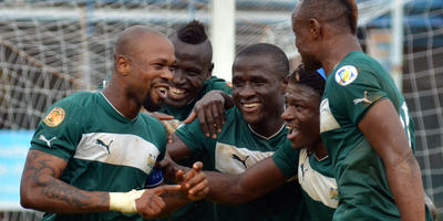 Leone Stars celebrate scoring against Equatorial Guinea [Pic (c) Darren McKinstry]